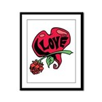 Love Heart with Rose Framed Panel Print