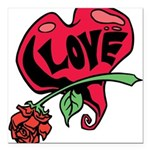 Love Heart with Rose Square Car Magnet 3