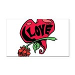 Love Heart with Rose Rectangle Car Magnet