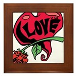Love Heart with Rose Framed Tile