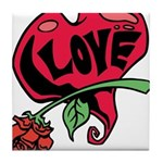 Love Heart with Rose Tile Coaster