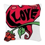 Love Heart with Rose Woven Throw Pillow