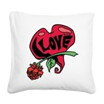 Love Heart with Rose Square Canvas Pillow