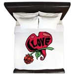 Love Heart with Rose King Duvet