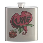 Love Heart with Rose Flask