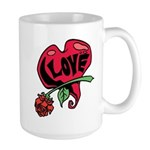 Love Heart with Rose Mugs