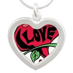 Love Heart with Rose Necklaces