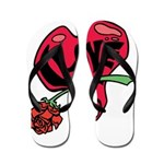 Love Heart with Rose Flip Flops