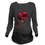 Love Heart with Rose Long Sleeve Maternity T-Shirt