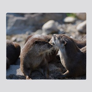 Cuddling River Otters Throw Blanket