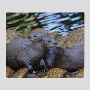 Pair of Cuddling River Otters Throw Blanket