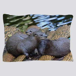Pair of Cuddling River Otters Pillow Case