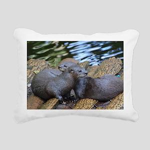 Pair of Cuddling River O Rectangular Canvas Pillow