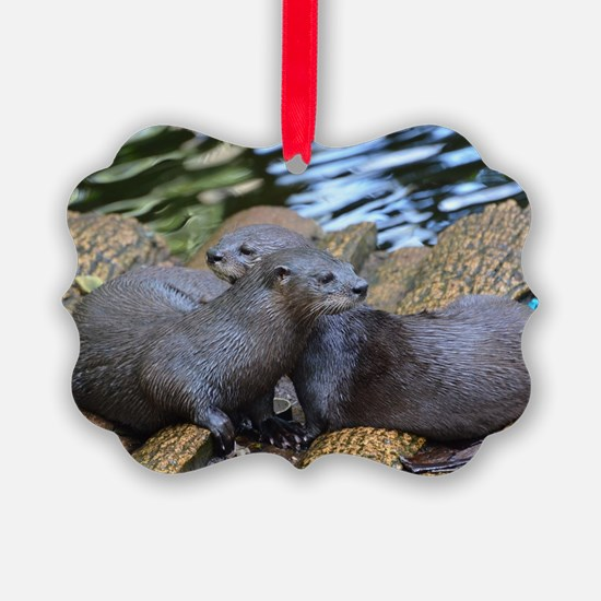 Pair of Cuddling River Otters Ornament