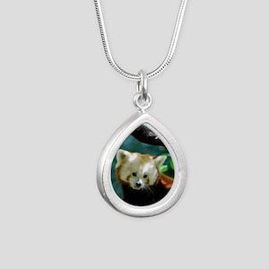 Sweet Red Panda Bear Silver Teardrop Necklace