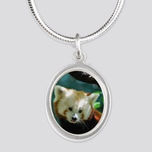 Sweet Red Panda Bear Silver Oval Necklace