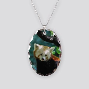 Sweet Red Panda Bear Necklace Oval Charm
