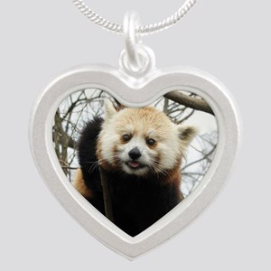 Funny Red Panda Silver Heart Necklace