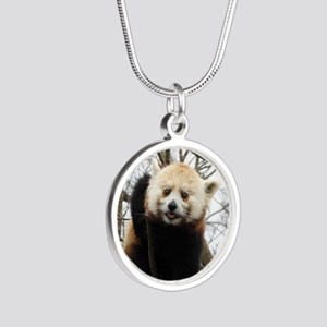 Funny Red Panda Silver Round Necklace
