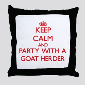Keep Calm and Party With a Goat Herder Throw Pillo