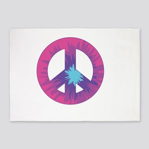 Tie Dyed Peace Sign 5'x7'Area Rug