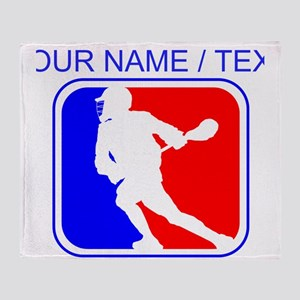 Custom Lacrosse League Logo Throw Blanket