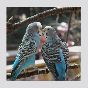 Cuddling Blue Parakeets Tile Coaster