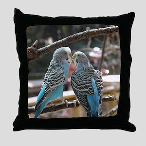 Cuddling Blue Parakeets Throw Pillow