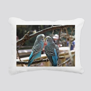 Cuddling Blue Parakeets Rectangular Canvas Pillow