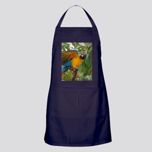 Blue and Gold Macaw with Wings Spread Apron (dark)