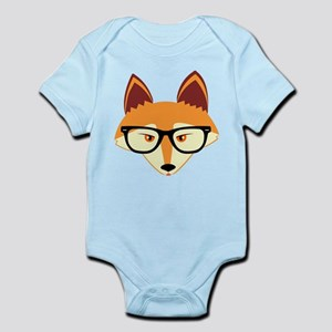 Cute Hipster Fox with Glasses Body Suit