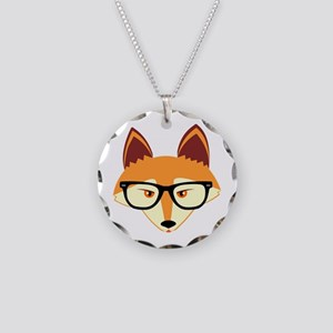 Cute Hipster Fox with Glasses Necklace