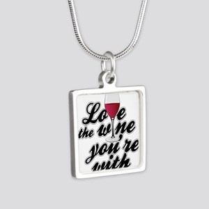 Love The Wine You're With Silver Square Necklace