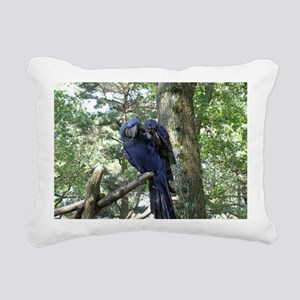 Blue Macaw in a Tree Rectangular Canvas Pillow