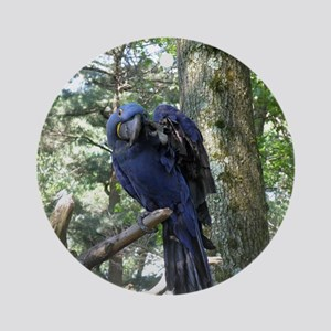 Blue Macaw in a Tree Round Ornament