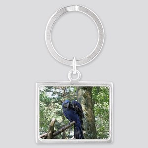Blue Macaw in a Tree Landscape Keychain