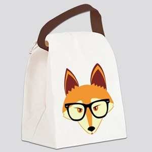 Cute Hipster Fox with Glasses Canvas Lunch Bag