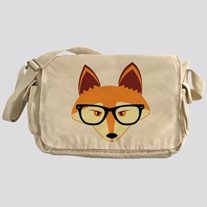 Cute Hipster Fox with Glasses Messenger Bag