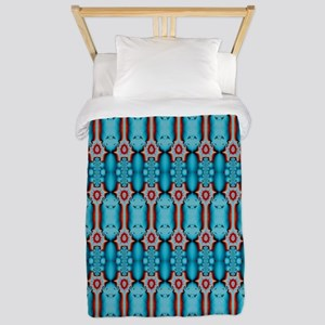 Turquoise Red Festive Pattern Twin Duvet