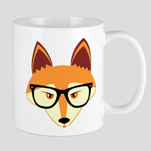 Cute Hipster Fox with Glasses Mugs