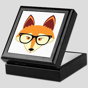 Cute Hipster Fox with Glasses Keepsake Box