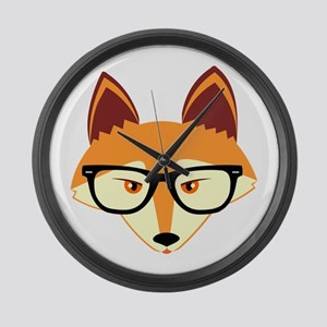 Cute Hipster Fox with Glasses Large Wall Clock
