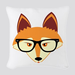 Cute Hipster Fox with Glasses Woven Throw Pillow