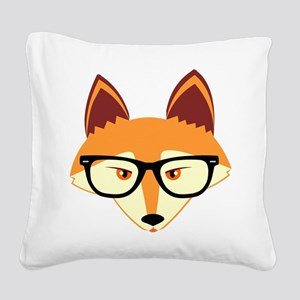 Cute Hipster Fox with Glasses Square Canvas Pillow