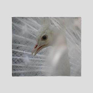 White Peacock Throw Blanket