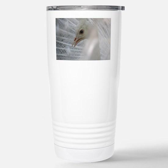 White Peacock Stainless Steel Travel Mug