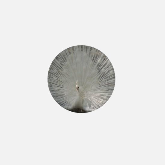 White Peafowl Plummage Mini Button