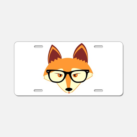 Cute Hipster Fox with Glasses Aluminum License Pla
