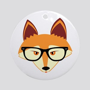 Cute Hipster Fox with Glasses Ornament (Round)