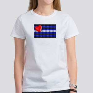 WOVEN LEATHER PRIDE FLAG/HEART Women's T-Shirt